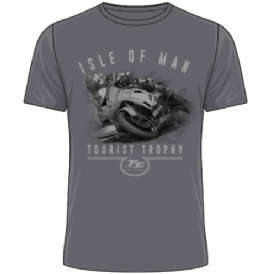 Official Isle of Man TT Tourist Trophy T-Shirt 2019 - Grey 19ATS23